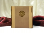 Small Coffee Cubic Cremation Urn with Bronze Fireman Medallion