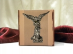 Rose Gold Cubic Cremation Urn with Stainless Steel Angel
