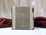 Stainless Steel Cubic Cremation Urn w/Stainless Steel Crucifix