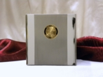 Small Stainless Cubic Cremation Urn with Gold Police Medallion
