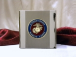 Small Stainless Steel Cubic Cremation Urn w/Large USMC Medallion