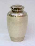 Nickel Plated Cremation Urn with White Enameled Band
