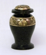 Brass Keepsake Urn with Black Pebbled Finish