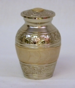Nickel Plated Keepsake Urn with White Enamaled Band