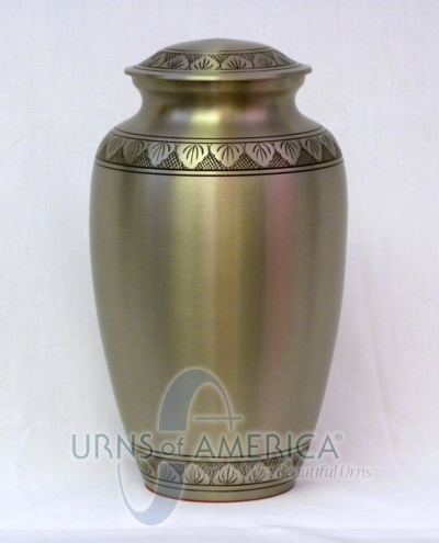 Brushed Pewter Cremation Urn - Click Image to Close