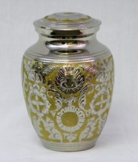 Nickel Plated Cremation Urn with Brass Inlay