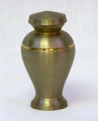 Brass Keepsake Urn with Brushed Stainless Steel Finish