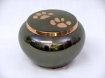 Polished Platinum Pet Urn with Copper Paw Prints