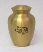 Brass Pet Urn with Puppy Inlay